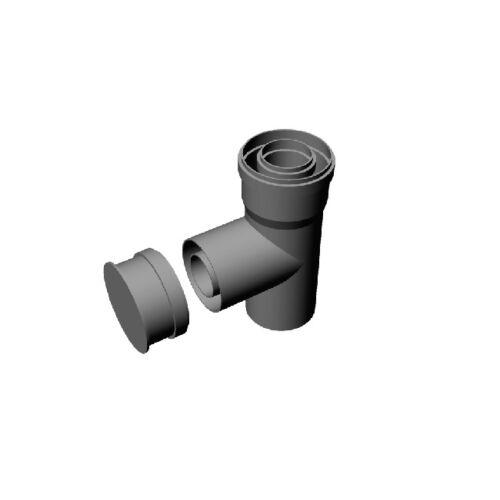 Ricom Gas PPS/Alu 800/125-ös egyenes T-idom vizsgálónyílással
