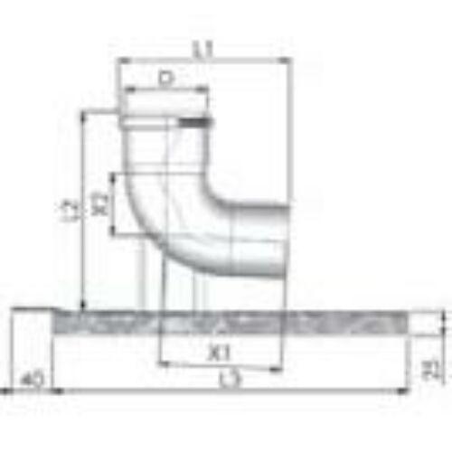 Tricox PPs bekötő könyök 200 mm tartó sínnel