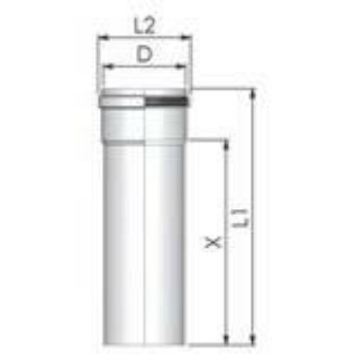 Tricox PPs cső 200 mm, hossz 1000 mm