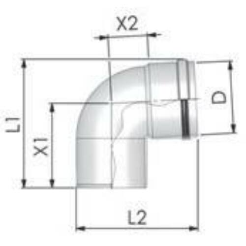 Tricox PPs könyök 160mm, 87°