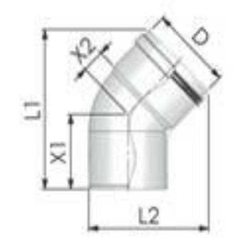 Tricox PPs könyök 110 mm, 45°