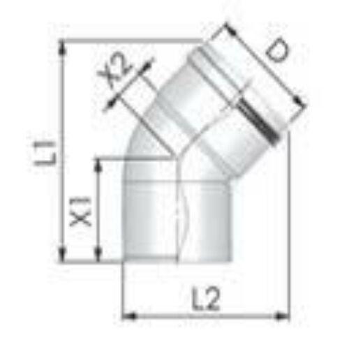 Tricox PPs könyök 160 mm, 45°