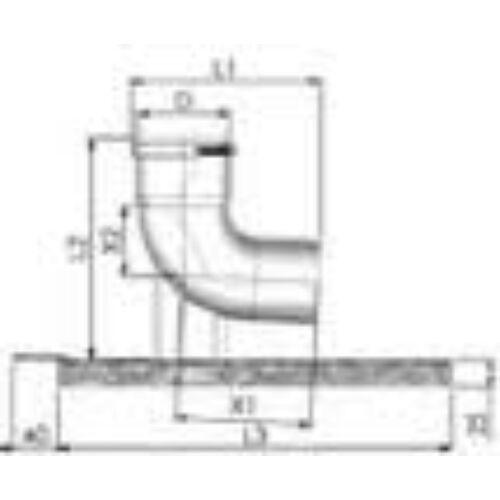 Tricox PPS/Alu bekötő könyök 60/100 mm tartó sínnel