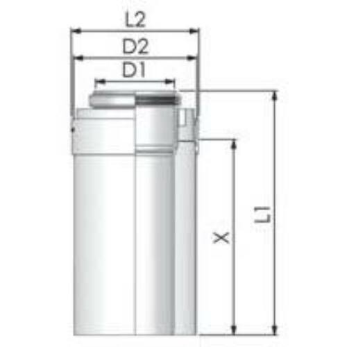 Tricox PPs/Alu cső 110/160mm, hossz 1000mm