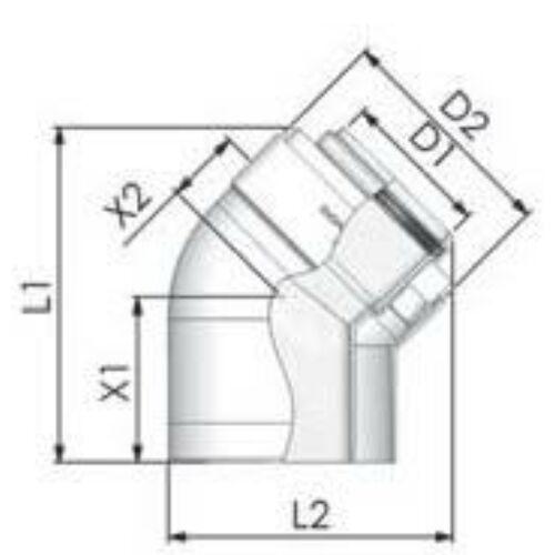 Tricox PPs/Alu könyök 110/160mm, 45°