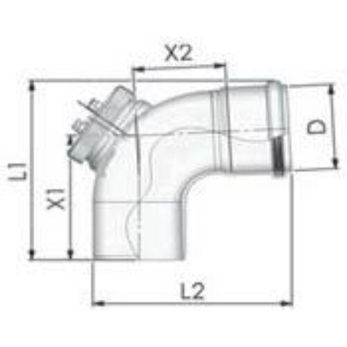 Tricox PPs ellenőrző könyök 87° 200mm