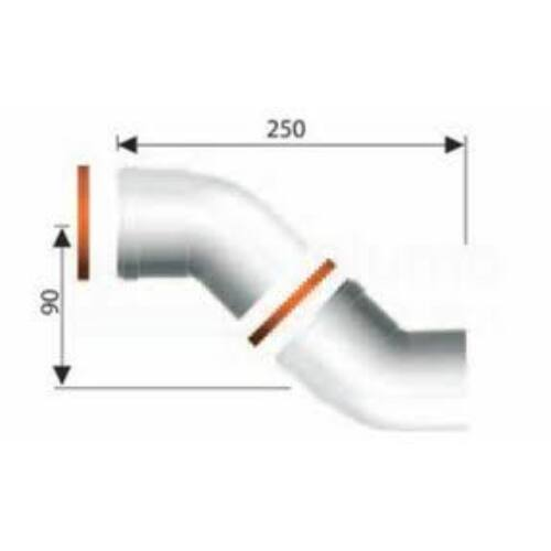 Ariston 45°-os könyökidom, pp Ø80 mm